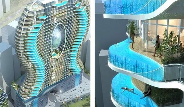 Nevšedné balkónové bazény