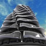 Futuristická budova budúcnosti inšpirovaná horskou dráhou