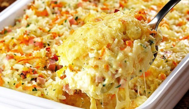 Ryža zepekaná so šunkou a syrom