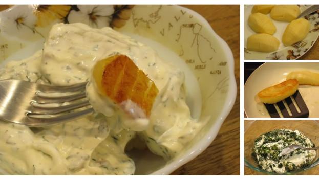 Chrumkavé zemiaky so smotanovo-bylinkovou omáčkou
