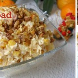 Šalát s kuracím mäsom, syrom a ananásom