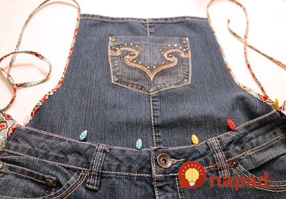 farm girl apron from old jeans step 21