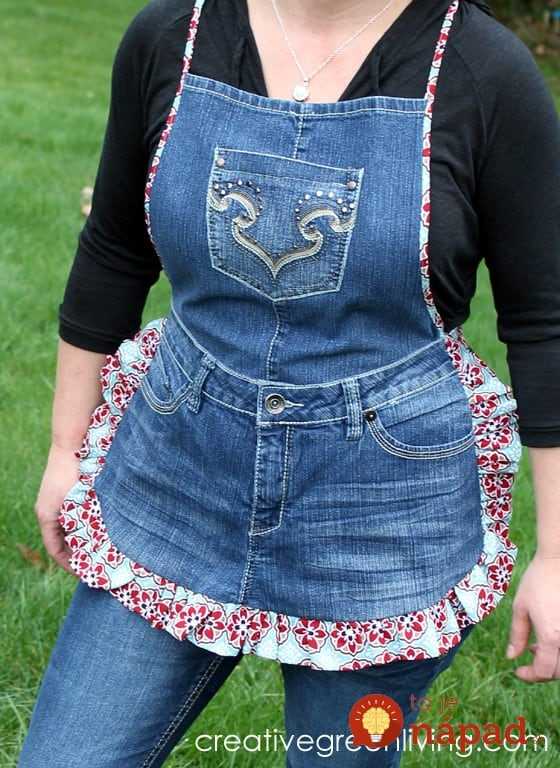 farm girl apron from old jeans