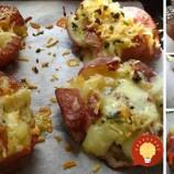 Roztlačené zemiaky pečené so syrom, cesnakom a bylinkami