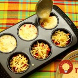 Omeletové koláčiky so šunkou a syrom