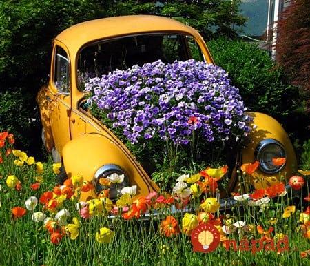 inspiration - garden - gardening - flowers - landscaping - Volkswagen Beetle garden planter - flower bed pinterest2