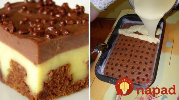Jednoduchý dierkovaný koláč s pudingom