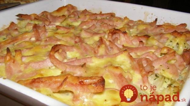 Zapečený karfiol so šunkou a syrom