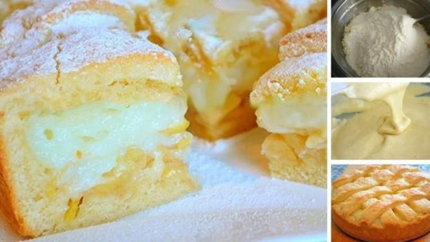 Jablkový koláč plnený mliečnym krémom