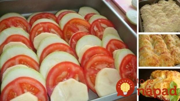 Nové zemiaky zapečené s cuketou, paradajkou a syrovou omáčkou