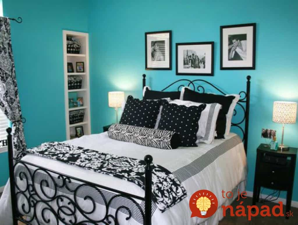 romantic-blue-colour-bedroom-idea-with-light-blue-wall-white-bed-with-black-pillows-and-white-desk-lamp-interesting-blue-colour-bedroom-ideas-pink-and-black-stripe-wall-ideas