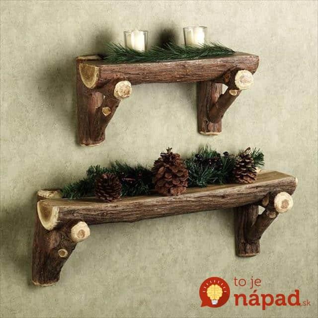 diy-wood-log-shelves