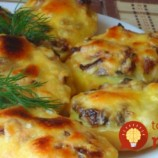 Pečené zemiaky s hubami, syrom a majonézou!