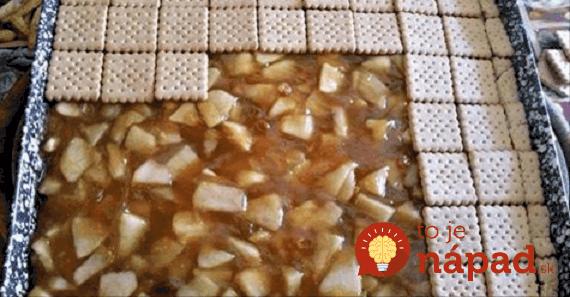 Bez pečenia: Sušienkové rezy s jablkovo-pudingovou náplňou