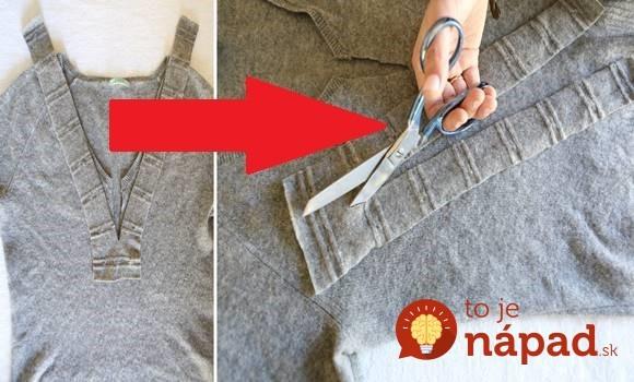 Žena vzala starý sveter a nožnice: Stačilo pár strihov a keď ten nápad uvideli jej kamarátky, ľutovali, že to nenapadlo aj im!