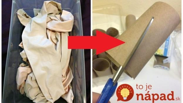 Ak máte v skrini pevné silonky, ktoré už nenosíte, navlečte ich na rolku z papierových utierok: Keď uvidíte ten perfektný nápad do obývačky, už nevyhodíte ani jeden pár!