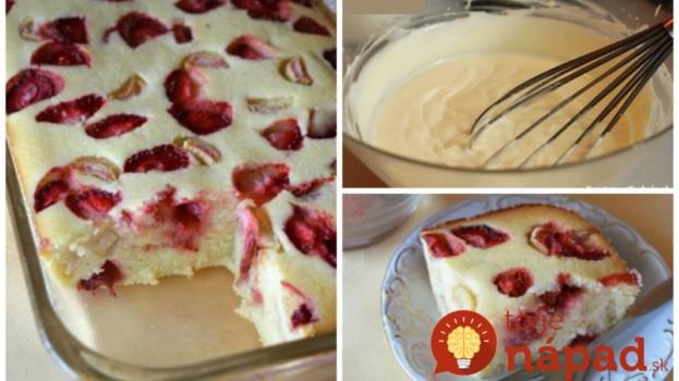 Výnimočne jemný krupicový koláč s tvarohom a jahodami: Žiaden prášok do pečiva a pritom krásne nadýchaný!