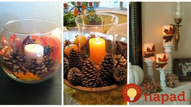 Neutrácajte za drahé dekorácie na stôl: Dajte do pohára len pár šišiek, listy a obyčajnú sviečku – výsledok je úžasný!