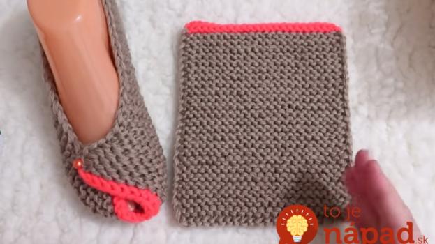 Tieto pohodlné a teplé papučky máte hotové za jeden večer: Jednoduché pletenie na dvoch ihliciach, len z jedného kusu!