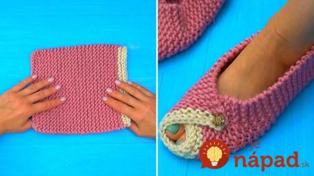 Jednoduché a krásne papučky z 1 obdĺžnika: Najjednoduchšie pletenie na 2 ihliciach, za 30 minút máte hotovo!